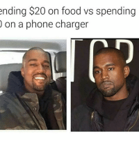 Funny, Charger, and  Thats Me: ending $20 on food vs spending  on a phone charger That me 🤣