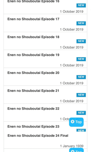 Apparently Fire Force Episodes 12-23 Came Out On Oct 1st, And Episode 24 Came Out On The 1st Of January, 1939: Enen no Shouboutai Episode 16  NEW  1 October 2019  Enen no Shouboutai Episode 17  NEW  1 October 2019  Enen no Shouboutai Episode 18  NEW  1 October 2019  Enen no Shouboutai Episode 19  NEW  1 October 2019  Enen no Shouboutai Episode 20  NEW  1 October 2019  Enen no Shouboutai Episode 21  NEW  1 October 2019  Enen no Shouboutai Episode 22  NEW  1 October 2019  Top  Enen no Shouboutai Episode 23  NEW  Enen no Shouboutai Episode 24 Final  1 January 1939  Ton Apparently Fire Force Episodes 12-23 Came Out On Oct 1st, And Episode 24 Came Out On The 1st Of January, 1939