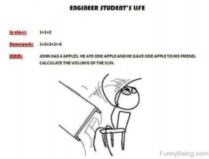 If you are a student Follow @studentlifeproblems​: ENGInEER STUDENTs urE  In los 1+1-2  Homework 1+2+2+1-6  EXAM:JOHN HAS 4 APPLES. HE ATE ONE APPLEAND HE GAVE ONE APPLETO HIS FRIEND.  CALCULATE THE VOLUME OF THE SUN  FunnyBeing.com If you are a student Follow @studentlifeproblems​