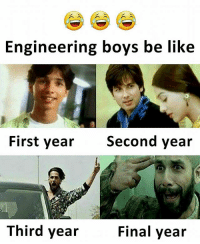 Be Like, Memes, and Engineering: Engineering boys be like  First year  Second year  Third year  Final year Follow our new page - @sadcasm.co