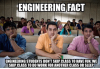 "Engineering, Design, and Fun: ENGINEERING FACT  ENGINEERING STUDENTS DONT SKIP CLASS TO HAVE FUN WE  SKIP CLASS TO DO WORK FOR ANOTHER CLASS ORSLEEP Check out our awesome ""Trust Me, I'm an Engineer"" shirt and hoodies at https://teespring.com/engineermemes  Over thousands of engineers and engineering students from around the world who have gotten this popular design!"