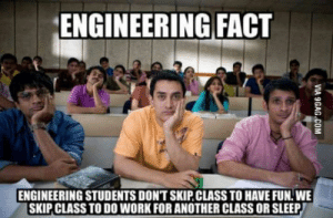 Indeed: ENGINEERING FACT  ENGINEERING STUDENTS DONT SKIP CLASS TO HAVE FUN. WE  SKIP CLASS TO DO WORK FOR ANOTHER CLASS OR SLEEP Indeed
