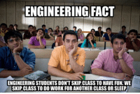 "Facts, Work, and Limited: ENGINEERING FACT  ENGINEERING STUDENTS DONTSKIP CLASS TO HAVE FUN WE  SKIP CLASS TO DO WORK FOR ANOTHER CLASS OR SLEEP Our most popular ""Trust me, I'm an engineer"" shirt and hoodies is back for a limited time! Check it out at https://teespring.com/engineermemes"