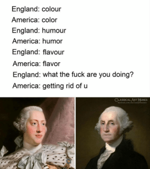 America, England, and Memes: England: colour  America: color  England: humour  America: humor  England: flavour  America: flavor  England: what the fuck are you doing?  America: getting rid of u  CLASSICALART MEMES  face  memes So thats why via /r/memes https://ift.tt/2MPPKqP