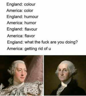 America, Dank, and England: England: colour  America: color  England: humour  America: humor  England: flavour  America: flavor  England: what the fuck are you doing?  America: getting rid of u Dont tell me what to do by Holofan4life MORE MEMES