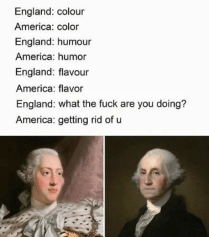 America, England, and Reddit: England: colour  America: color  England: humour  America: humor  England: flavour  America: flavor  England: what the fuck are you doing?  America: getting rid of u Props to @RenataKonkoly on Twitter