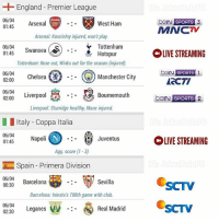 Arsenal, Barcelona, and Chelsea: England Premier League  06/04  berN 3  SPORTS  Arsenal  West Ham  01:45  MNCTV  Arsenal Koscielny injured, won't play.  Tottenham  06/04  (S)  Swansea  01:45  OLIVE STREAMING  Hotspur  Tottenham: Rose out, Winks out for the season (injured).  beIN SPORTS  1  06/04  Chelsea  02:00  Manchester City  ACTI  06/04  02:00  Liverpool  Bournemouth  belN  SPORTS  Liverpool Sturridge healthy, Mane injured.  Italy Coppa Italia  06/04  Napoli N Juventus  OLIVE STREAMING  01:45  Agg. score (1-3)  Spain Primera Division  06/04  Sevilla  Barcelona  00:30  Barcelona: Iniesta's 700th game with club.  06/04  Real Madrid  Leganes  02:30 MIDWEEK FOOTBALL! Tontonan anak bola dinihari nanti. Banyak Match seru 😍 Mana yang lo tunggu gaes?