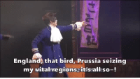 England, Target, and Tumblr: England, that bird, Prussia seizing  my vitatregionspitis alliso-! gsnkhurray:one of my favorite scenes in the musical