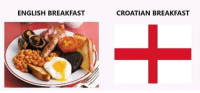 Breakfast: ENGLISH BREAKFAST  CROATIAN BREAKFAST