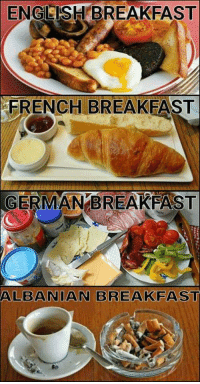 Breakfast: ENGLISH BREAKFAST  FRENCH BREAKFAST  ERMANBREAKFAST  ALBANIAN BREAKFAST