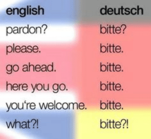 English, Deutsch, and You: english  deutsch  pardon?  bitte?  please.  bitte.  bitte.  go ahead.  here you go.  bitte.  you're welcome. bitte.  what?!  bitte?!