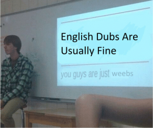 English, You, and Fine: English Dubs Are  Usually Fine  you guys are just weebs