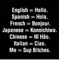 Sup 😂 goodgirlwithbadthoughts 💅: English Hello.  Spanish Hola  French Bonjour.  Japanese E Konnichiwa.  Chinese Ni Hao.  Italian Ciao  Me Sup Bitches. Sup 😂 goodgirlwithbadthoughts 💅
