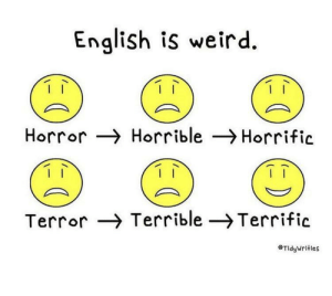This is life: English is weird  Horror Horrible Horrific  Terror Terrible -Terrific  TidyWrities This is life