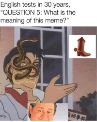 """Meme, Meaning, and What Is: English tests in 30 years,  """"QUESTION 5: What is the  meaning of this meme?""""  35  it"""
