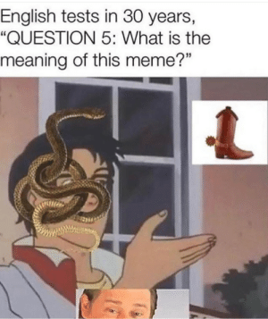 "Meme, Meaning, and What Is: English tests in 30 years,  ""QUESTION 5: What is the  meaning of this meme?"""