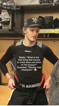 """stanley cup champions: enguins  13h ago  GUENTZEL 59  Reebok  A  Media: """"What is the  first thing that comes  to mind when you think  of Phil Kessel?""""  Guentzel: """"Stanley Cup  Champion  HARMOU  CHAT"""