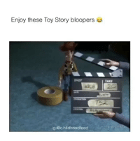 Toy Story, Bloopers, and Story: Enjoy these Toy Story bloopers  SHOT  TAKE  38 20  T52  ig:@c.hildhoodfeed Just what I needed