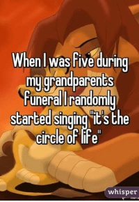 Memes, Singing, and Circles: enl was Five during  mu grandparents  uneralUrandom  started Singing ICS the  circle of Fe  whisper