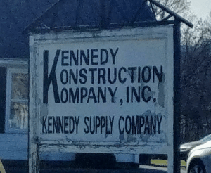 """2 of those words shouldn't start with a """"K"""": ENNEDY  ONSTRUCTION  OMPANY, INC.  KENNEDY SUPPLY COMPANY 2 of those words shouldn't start with a """"K"""""""