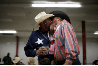 enoughtohold: Gordon Satterly, 61, from Michigan (L) kisses his husband Richard Brand, 53, from Texas, at the International Gay Rodeo Association's Rodeo In the Rock party in Little Rock, Arkansas, April 24, 2015. Photo by Lucy Nicholson/Reuters: enoughtohold: Gordon Satterly, 61, from Michigan (L) kisses his husband Richard Brand, 53, from Texas, at the International Gay Rodeo Association's Rodeo In the Rock party in Little Rock, Arkansas, April 24, 2015. Photo by Lucy Nicholson/Reuters