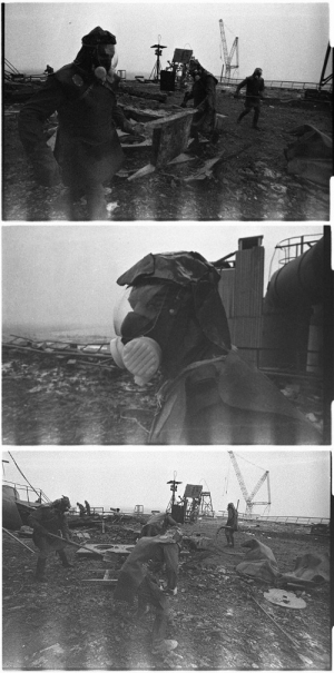 "Tumblr, Alien, and Blog: enrique262: Chernobyl Nuclear Power Plant Disaster, liquitadors, soviet personnel in charge of the clean-up operation, ""the liquidation"", of the disaster, are sent onto the rooftop of the stricken reactor 4 building to clean it up of highly radioactive debris, many coming from the inside of the destroyed reactor itself, as to ensure minimal working conditions could be established, enabling workers to begin construction of the containment building around the   stricken   reactor, the Sarcophagus.  These men, sent after remote-controlled robots originally tasked with this mission constantly broke down due to damage from the heavy radiation, were nicknamed bio-robots, and worked in such heavily radioactive environment, they couldn't afford more than a minute of working time each on the rooftop, as more than that would ensure absorption of a fatal dose of radiation. Notice the white flashes at the bottom of the pictures, remnants of the radiation itself present in such alien, hostile environment, which was so strong it reflected itself onto the film inside the cameras, as stated by the journalist behind these pictures, Igor Kostin. The world's most dangerous job, in the world's most radioactive place, during the world's worst nuclear disaster, these men, perhaps unknowingly in many cases, rose to the challenge and ensured the world would never known the horrors they suffered during that fateful year of 1986 in the Ukraine."