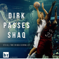 Dirk passes Shaq for 6th on NBA's all-time scoring list!: ENT  PASSES  SHAQ  6TH ALL-TIME ON NBA SCORING LIST  br  H/T @BR INSIGHTS Dirk passes Shaq for 6th on NBA's all-time scoring list!