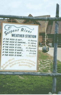 Easy to understand weather sign! Like * Share * See more on our Page: Nutxity 2: ent Rive  WEATHER STATION  SerP  IF THE ROCK IS WET... Its Raining  IF THE ROCK IS SWAYING... It's Windy  IF THE ROCK IS HOT  Its Sunny  IF THE ROCK IS COOL... It's Overcast  IF THE ROCK IS WHITE... It's Snowing  IF THE ROCK IS BLUE.  It's Cold  THE ROCK IS GONE  TORNADO  Moute  e repared as Easy to understand weather sign! Like * Share * See more on our Page: Nutxity 2