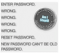 Memes, Old, and Stupidity: ENTER PASSWORD.  WRONG.  Am I  WRONG.  StupiD  WRONG.  WRONG.  RESET PASSWORD.  NEW PASSWORD CAN'T BE OLD  PASSWORD. 😂😂