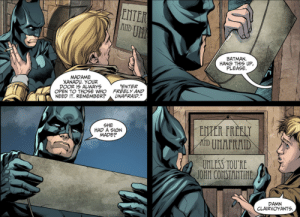 "And he deserved it, too [Injustice: Year 3 #6]: ENTER  U厓  BATMAN  HANG THIS UP,  PLEASE  MADAME  XANADU. YOUR  DOOR 1S ALWAYS  OPEN TO THOSE WHO  NEED IT. REMEMBER?  ENTER  FREELY AND  UNAFRAID.""  SHE  HAD A SIGN  MADE?  UNLESS TOURE  DAMN  CLAIRVOYANTS And he deserved it, too [Injustice: Year 3 #6]"