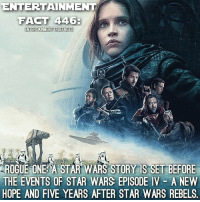 RogueOne AStarWarsStory is now in theaters! Who's going to see it and who's seen it?: ENTERTAINMENT  FACT 446-  ENTERTAINMENT TRUEFACTS  ROGUE ONE A STAR WARS STORY IS BEFORE  THE EVENTS OF STAR WARS EPISODE IV A NEW  HOPE AND FIVE YEARS AFTER STAR WARS REBELS RogueOne AStarWarsStory is now in theaters! Who's going to see it and who's seen it?