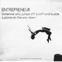 Memes, Entrepreneur, and Rams: ENTREPRENEUR  Someone who jumps off a cliff and builds  a plane on the way down.  INSTA RAM  CLEVER INVESTOR Not only is this entrepreneur jumping off a cliff he's doing a backflip! The best entrepreneurs are the most creative. cleverinvestor mindset entrepreneur codysperber