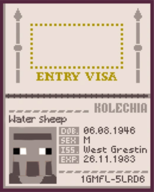 Sex, The Real, and Water: ENTRY VISA  -- KOLECHIA  |Water sheep  DIB 86.08.1946  SEX M  ISS West Grestin  EXP 26.11.1983  1GMFL-SLRDB The real reason why felix hate water sheep so much