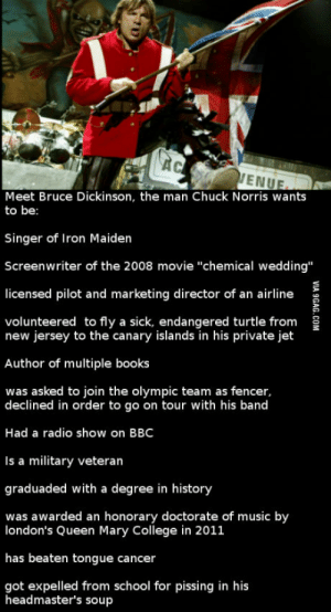 """The Chuck Norris of Britain: ENUE  Meet Bruce Dickinson, the man Chuck Norris wants  to be:  Singer of Iron Maiden  Screenwriter of the 2008 movie """"chemical wedding""""  licensed pilot and marketing director of an airline  volunteered to fly a sick, endangered turtle from 3  new jersey to the canary islands in his private jet  Author of multiple books  was asked to join the olympic team as fencer  declined in order to go on tour with his band  Had a radio show on BBC  Is a military veteran  graduaded with a degree in history  was awarded an honorary doctorate of music by  london's Queen Mary College in 2011  has beaten tongue cancer  got expelled from school for pissing in his  headmaster's soup The Chuck Norris of Britain"""