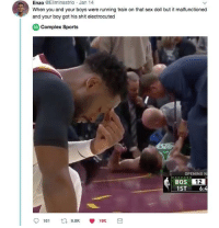 Blackpeopletwitter, Complex, and Sex: Enzo @Eliminastrio Jan 1  When you and your boys were running train on that sex doll but it malfunctioned  and your boy got his shit electrocuted  Complex Sports  OPENING N  BOS 12  1ST 6:4  161 9.8 19K <p>Sta-dick Shock (via /r/BlackPeopleTwitter)</p>