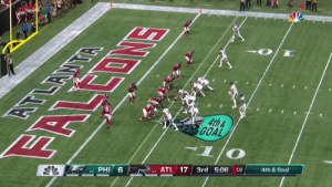The @Eagles go for it on fourth down...  And @cj_wentz finds @NelsonAgholor for the TD! #FlyEaglesFly  📺: #PHIvsATL on NBC 📱: NFL app // Yahoo Sports app Watch on mobile: https://t.co/Pa6E6lQGVa https://t.co/u36HhYCvjz: EOMS  4th&  GOAL  दभ  6  PHI  ATL 17  3rd 5:06  1-0  :02  4th & Goal  0-1 The @Eagles go for it on fourth down...  And @cj_wentz finds @NelsonAgholor for the TD! #FlyEaglesFly  📺: #PHIvsATL on NBC 📱: NFL app // Yahoo Sports app Watch on mobile: https://t.co/Pa6E6lQGVa https://t.co/u36HhYCvjz