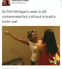 Memes, Michigan, and 🤖: eoomy Scrooge  @KATFATALE  So Flint Michigan's water is still  contaminated but y'all bout to build a  fuckin wall