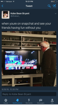 Blackpeopletwitter, cnn.com, and Friends: eooo Verizon  10:31 PM  9% DO,  Tweet  Kobe Bean Bryant  @shukun  when youre on snapchat and see your  friends having fun without you  8:49 PM ET  BREAKING NEWS  CLINTON-TRUMP DEBATE BEGINS MOMENTARILY ON CNN  LIVE  CAN  NEX1048  CNP PRES  9/26/16, 10:26 PM  Reply to Kobe Bean Bryant  Home  Notifications Moments  Messages  Me <p>Feel The Bern (via /r/BlackPeopleTwitter)</p>
