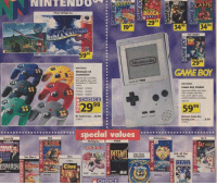 Nintendo Memes: EOPAADy  NINTENDO  PILOT WINGS 64  Nintendo 64  Controllers  Choose cordeoller  that catches your eyel  GAME BOY  in 6d trent  570029 579037  CHOICE  99  29  RF Switch Set..29.99  special values  Pac Man 2  Clue  CHOICE  ND  TOY STORY  TOY  29  GAMEBOY  Game Boy Pocket  improved darity, and now  30 smaller and  mer loft right your  podet Batteries induded.  5999  Nintendo Game Boy  Carrying Case 9.99  Taz 2  NHL All Star  Hockey