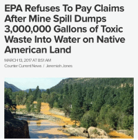 """The U.S. EnvironmentalProtectionAgency has refused to pay more than $1.2 billion in claims filed against it in response to the GoldKingMine spill, reported the Farmington Daily Times. The EPA says the Federal Tort Claims Act prevents the agency from paying claims the result from """"discretionary"""" government actions. Congress passed the law to allow government agencies — and in this case, contractors working on their behalf — to act """"without the fear of paying damages in the event something went wrong while taking the action,"""" according to a press release from the EPA. An EPA agency official said paying the claims would discourage such cleanup efforts in the future. The EPA says the work conducted at the Gold King Mine near Silverton, Colo., is considered a """"discretionary function"""" under the law. Contractors on Aug. 5, 2015, breached the mine, which released more than three million gallons of toxic wastewater into a tributary that feeds the AnimasRiver, which ultimately flows into the SanJuanRiver and Lake Powell. Federal lawmakers representing NewMexico decried the announcement, calling it a """"shameful legal interpretation of liability."""" New Mexico Attorney General Hector Balderas, a Democrat, accused the EPA of revictimizing the state and the Navajo Nation by not taking full responsibility for triggering the spill of 3 million gallons of toxic wastewater, reported NBC 12 News. Sens. Tom Udall and Martin Heinrich, New Mexico Democrats, and Rep. Ben Ray Luján (D-N.M.) issued a joint statement saying they would continue pushing for legislation to hold the EPA accountable. They also said it would be up to the courts to determine whether the EPA's defense is legitimate. """"We are outraged at this last-ditch move by the federal government's lawyers to go back on the EPA's promise to the people of the state of New Mexico — and especially the NavajoNation — that it would fully address this environmental disaster that still plagues the people of the FourCorners region,"""" the stat"""