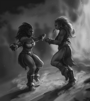 eepoxdraws:  Manata dancing with her mother Korgata around a bonfireI like exploring the tribal vibes/clan side of the orcish culture!: EPBX eepoxdraws:  Manata dancing with her mother Korgata around a bonfireI like exploring the tribal vibes/clan side of the orcish culture!
