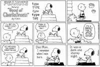 "Charlie, Memes, and Mother's Day: EPEANUTS type  featuring  TYPE  ""Good type  Charlie Brown  type  TYPE  I'LL BET You  TODAY IS  FOR60T DIDN'T  MOTHER'S  YOU?  DAY!  LET HER KNOW  Dear Mom,  YOU HAVEN'T  I remember  FOR60TTEN HER  when I was  born.  5-11  It was a  dark and  stormy  night  CO  IT's A  PERFECT  TIME TO  WRITE  TO YOUR  MOTHER. Happy Mother's Day! 💐 This strip was published on May 11, 1986."