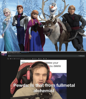 Yes it is: Epic background music iredd.it/yedxrt... LC  Posted by u/MObstos 1 dey ago  v Old Reports  125 O Give Award A Share  / Approved  Remove  Spam  eletes your  you delete  Pewds: Is that from fullmetal  alchemist Yes it is