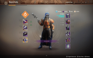 Destiny, Power, and Epic: Epic Cole  I/LEVEL 50/ 750  ONS TRIUMPHS  CHARACTER  INVENTORY  31030  6376  400  14512  POWER  750  54  4 0  SHADOW  S Toggle Subscreen E Gear Stats  Dismiss I made a Tennager Snoo out of my Destiny 2 hunter. The cloak is the backpack.