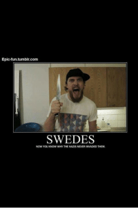 True dat!: Epic-fun tumblr.com  SWEDES  NOW YOU KNOW WHYTHE NAZIS NEVERINVADED THEM. True dat!