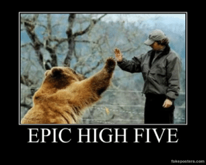 very-demotivational:  Epic High Five - Demotivational Poster: EPIC HIGH FIVE  fakeposters.com very-demotivational:  Epic High Five - Demotivational Poster