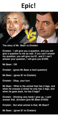 Memes, Mr. Bean, and Animal: Epic!  IC!  The story of Mr. Bean vs Einstein  Einstein I will give you a question, and you will  give a question to me as well. If you can't answer  my question, you will give me $1, and if I can't  answer your question, I will give you $1000.  Mr.Bean OK  Einstein (gives Mr.Bean a hard question)  Mr.Bean (gives $1 to Einstein)  Einstein: Okay, your turn.  Mr.Bean What is the animal that has 4 legs, and  when he crosses a street he only has 2 legs, and  when he goes back, he has 5 legs?  Einstein (thinking very hard) I give up, cant  answer that. (Einstein give Mr.Bean $1000)  Einstein But what animal is that, Mr.Bean?  Mr.Bean (gives $1 to Einstein)