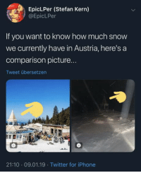 Iphone, Twitter, and Snow: EpicLPer (Stefan Kern)  @EpicLPer  If you want to know how much snow  we currently have in Austria, here's a  comparison picture  Tweet übersetzen  21:10 09.01.19 Twitter for iPhone Just saying