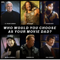 lol: epix  ETHAN HUNT  LT FRANK DRE BIN  HERCULES  WHO WOULD YOU CHOOSE  AS YOUR MOVIE DAD?  NE  TERMINATOR  WAYNE CAMPBELL  PAUL KERSEY lol