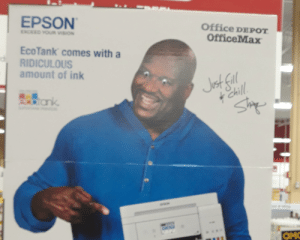 Best Buy, Chill, and Vision: EPSON  Office DEPOT  EXCED YOUM VISION  OfficeMax  Eco Tank comes with a  RIDICULOUS  amount of ink  Jt fal  Chill  rank  Sip  ON  -a-o  OM Only at my local best buy